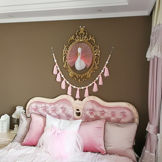 3d Golden Crown Swan Wall Art Hanging Girl Swan Doll Stuffed Toy