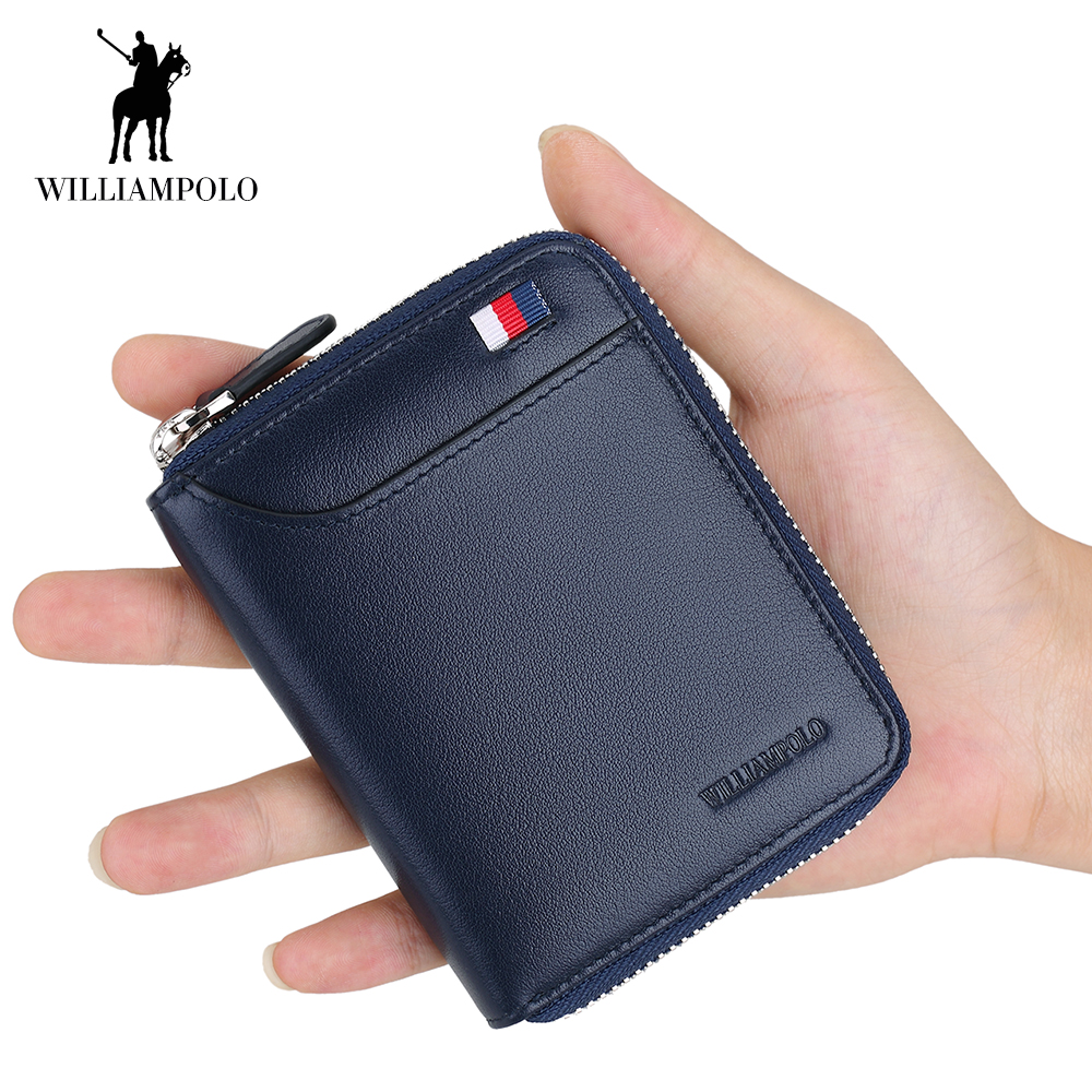 WilliamPOLO Men Wallet Short Credit Card Holder Genuine Leather Organizer Mini Multi Card Case Zipper with Change Coin Purse 173 leather look mini skirt with zipper details
