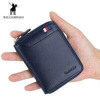 WilliamPOLO Men's Wallet Short Credit Card Holder Genuine Leather Organizer Mini Multi Card Case Zipper with Change Coin Purse