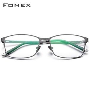 Image 2 - Fonx 순수 티타늄 안경 프레임 남성 스퀘어 안경 남성 클래식 전체 광학 처방 안경 프레임 Gafas Oculos 8505