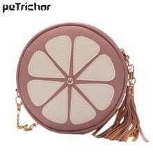 Small Women Bags Round Girl Messenger Bag Brand Leather Shoulder&Crossbody Bags Tassel Chain Lady Handbags Zipper Floar Circular