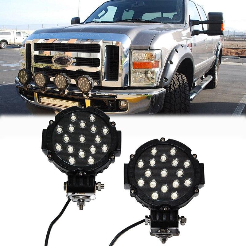 ФОТО 1Pcs 7 Inch 51W Car Round LED Work Light Waterproof Light Fog Lamp Super Bright Headlight Headlamp for Truck SUV ATV