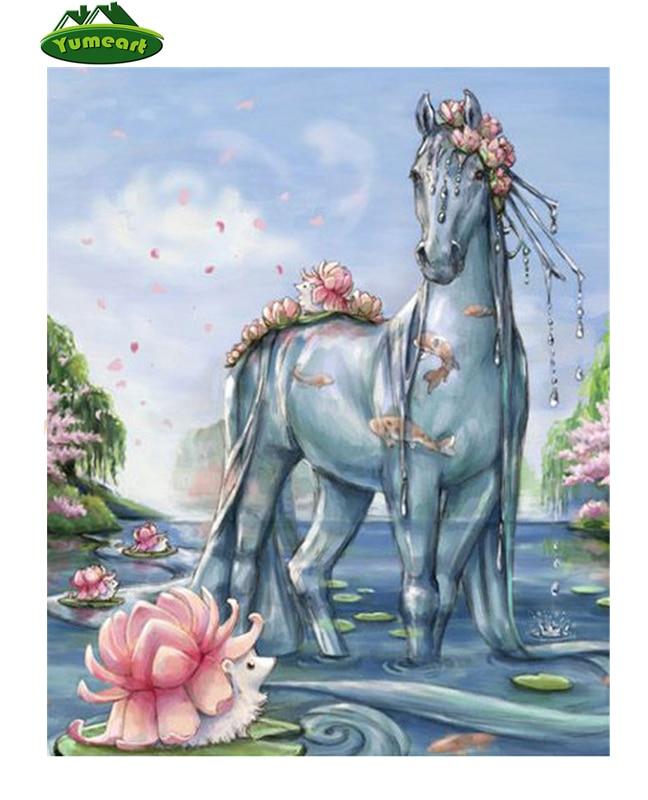 YUMEART The Water Horse 5D Diamond Embroidery 3D Diamond Painting Cross Stitch Crafts Diamond Mosaic Kits Full Square Home Decor