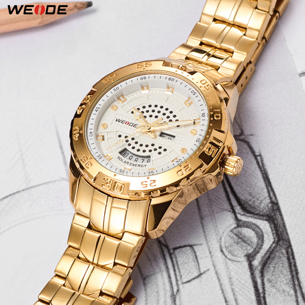 WEIDE Men Business Brand Solar Drived Energy Quartz Date Analog Digital Wristwatch Gold Stainless Steel Band Miesten kellotWEIDE Men Business Brand Solar Drived Energy Quartz Date Analog Digital Wristwatch Gold Stainless Steel Band Miesten kellot