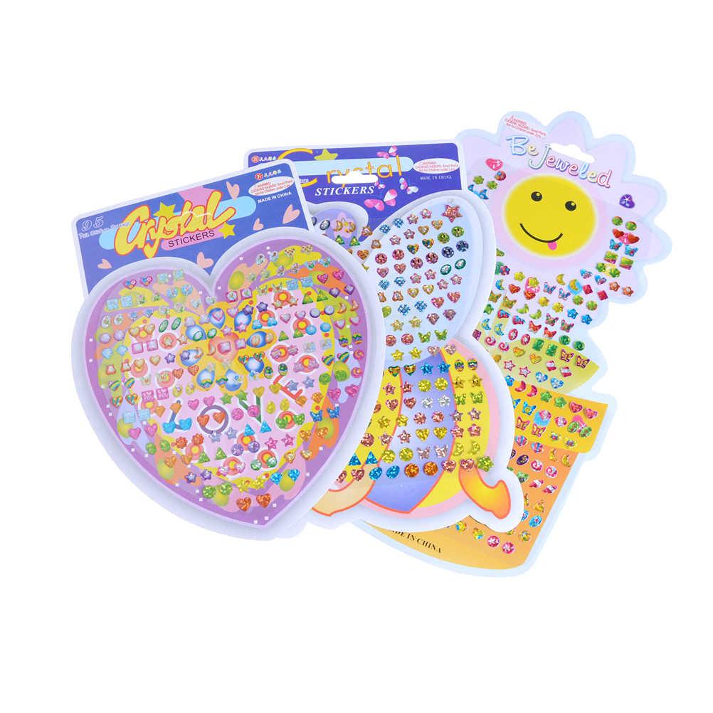 1 лист, чудесные детские наклейки для мальчиков и девочек, серьги, мультфильм, награда, Кристальные наклейки, Ушная награда, палочка для детского сада, наклейки для лица