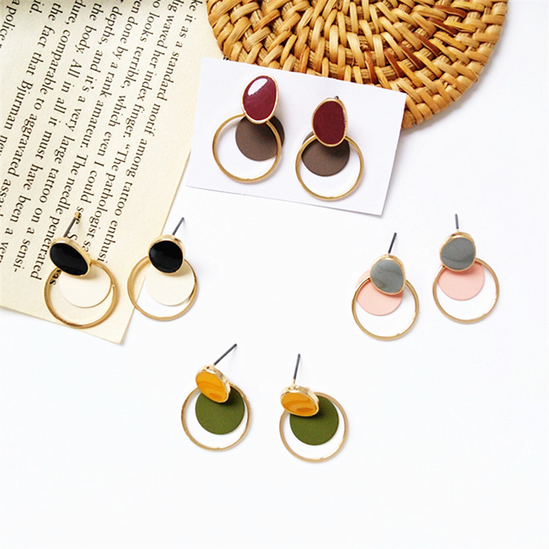 Creative unique metal geometry and colorful color matching earrings with simple earring lady temperament