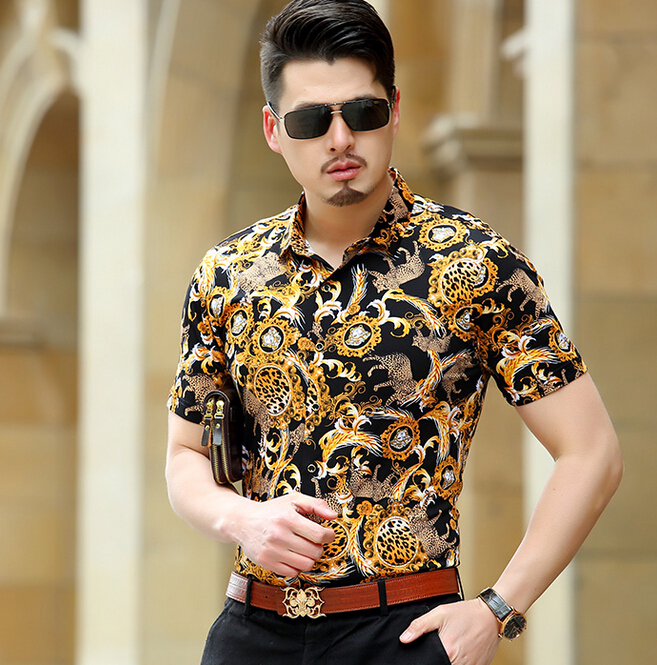 d733cde4f233 2017 Mens Leopard Print Dress Shirts Silk Baroque Mens Clothing Luxury  Brand Gold Chemise Abbigliamento Uomo Heren Kleding Slim-in Casual Shirts  from Men s ...