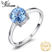 Natural stone Sky Blue Topaz Solitaire Rings Genuine 925 Sterling Silver Round Cut  Engagement Party Fashion Jewelry For Women  недорого