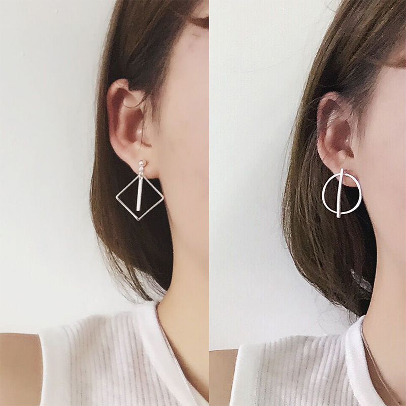 2017 New Popular Earrings Korean Simple Geometric Long Strip Round