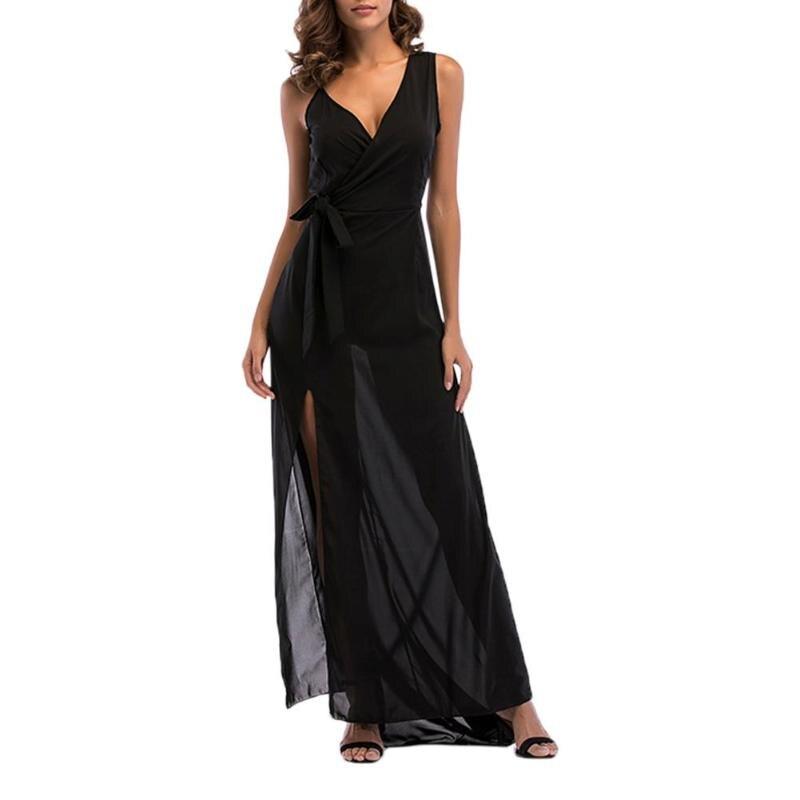 Sleeveless Chiffon Summer Deep V Neck High Split Maxi Dress Women Elegant Evening Prom Clothes Female Sexy Summer Fashion Dress