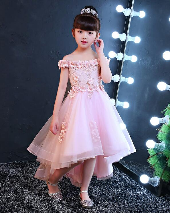 2017 New Shoulderless Flower Girls Dresses For Wedding Appliques Formal  Girl Birthday Party Dress Red Lace. sku  32843091853 70db7f847c50