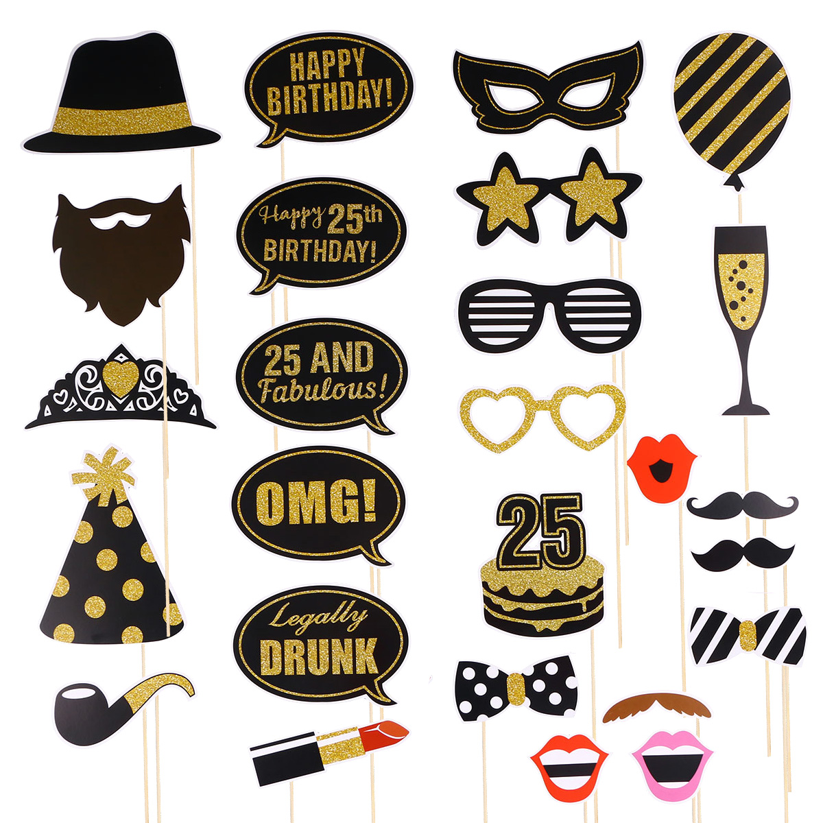 Photobooth Props27 pcs Birthday Photo Props Kit 25 Years Old Funny Creative Selfie Props Paper Mask Party Favors(China)