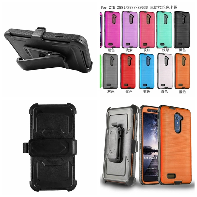 Heavy Armor Impact Holster Hybrid Hard Defender Stand Belt Clip Holster Case For ZTE Zmax Pro Z981 Z988 Brushed Holster Cover