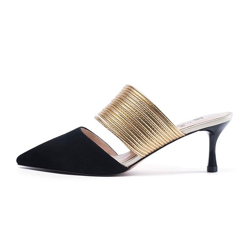 우주 외부 골든 리본 슬리퍼 아이 스웨이드 & pu 높은 얇은 발 뒤꿈치 여름 여성 구두 숙 녀 신발 2018 h133-에서슬리퍼부터 신발 의  그룹 2