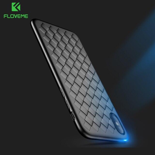 FLOVEME Super Étui Souple Pour iPhone 8 Luxe Quadrillage Tissage Étuis Pour iPhone 6 6 s 7 8 Plus X XS Max Couverture Silicone Accessoires