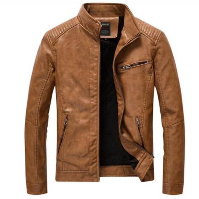 Leather Jacket Men Casual Slim Fit Stand Collar Washed PU Faux Leather Coat Mens Thick Plus Velvet Motercycle Bomber Jackets 5XL
