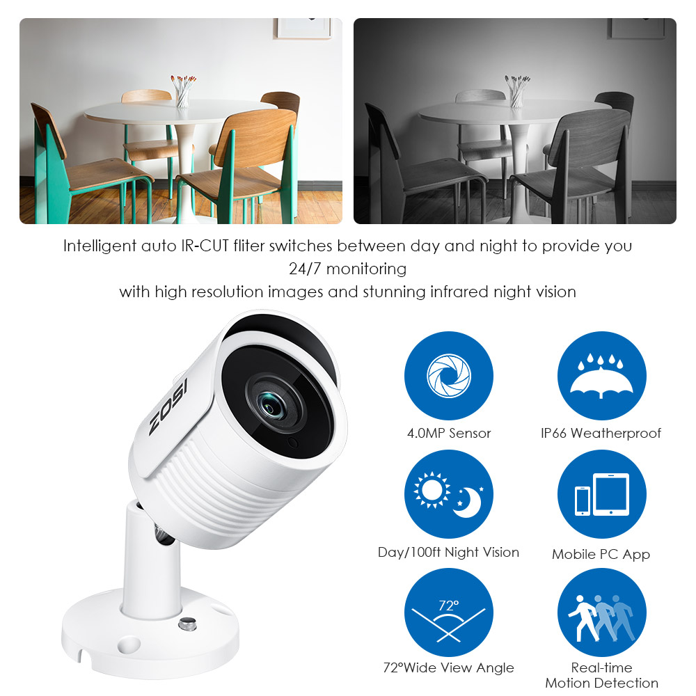 Image 5 - ZOSI  IP Camera PoE 4MP/5MP Super HD Outdoor/Indoor Waterproof Infrared Night Vision ONVIF Security Video Surveillance-in Surveillance Cameras from Security & Protection