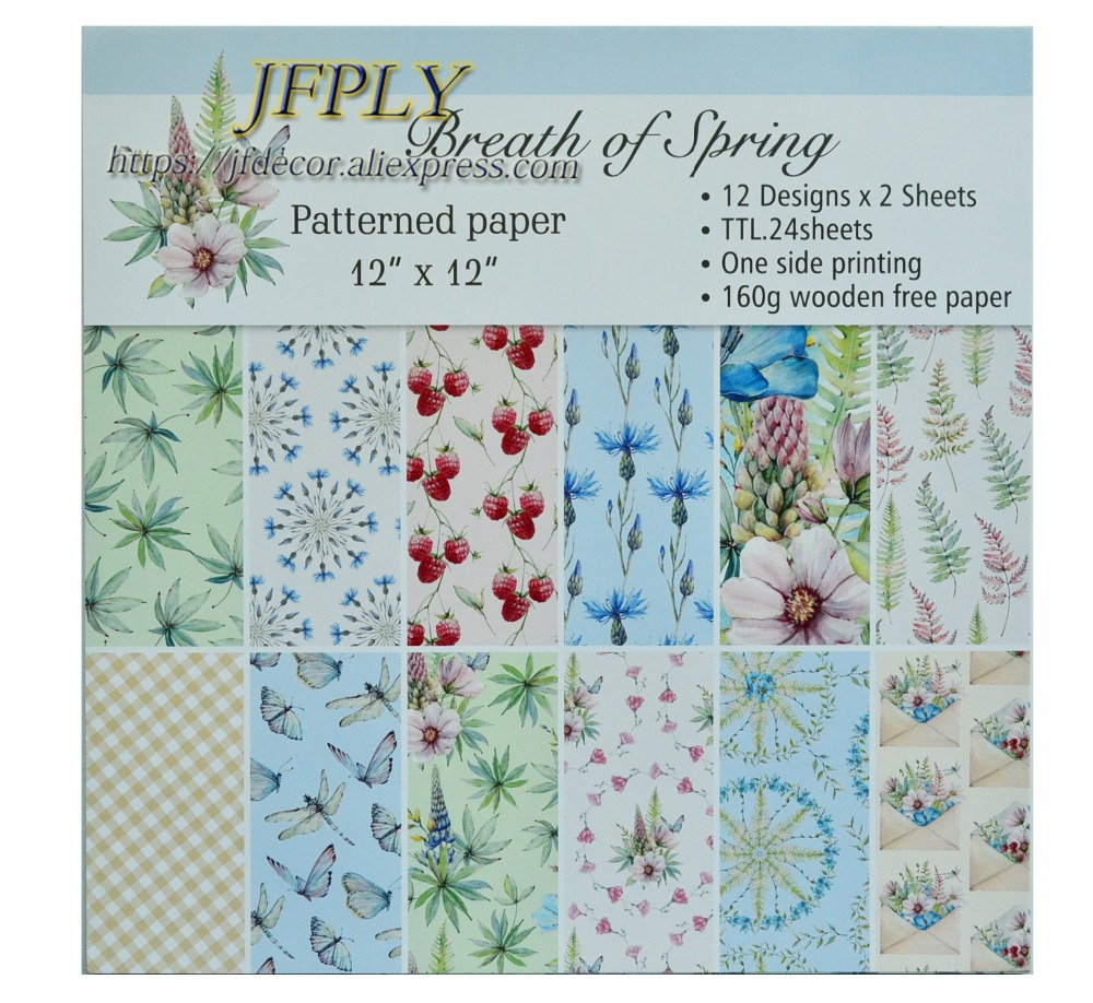 DIY Album Photo Scrapbooking set  Papers Cut Spring seriers  Craft Paper  Card  Making Background pad  12X 12  24sheets/pack