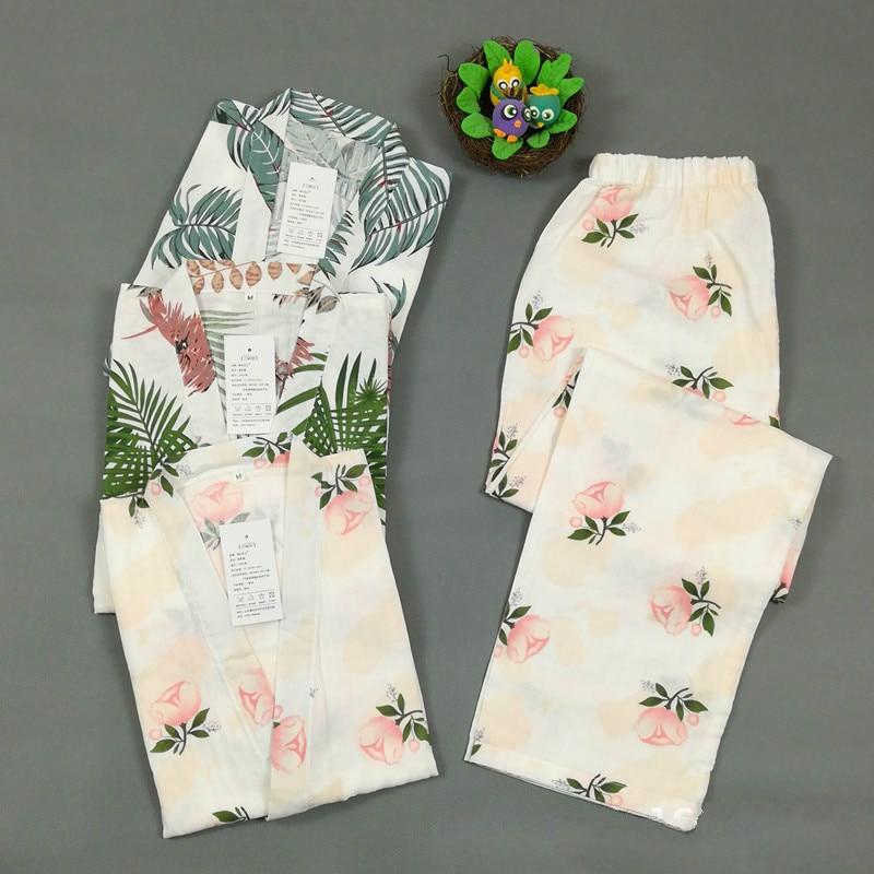 Japanese Long-sleeved Trousers Pajamas Set Ladies Thin Section Yukata Cotton Double-layer Gauze Kimono Large Size Night Clothes