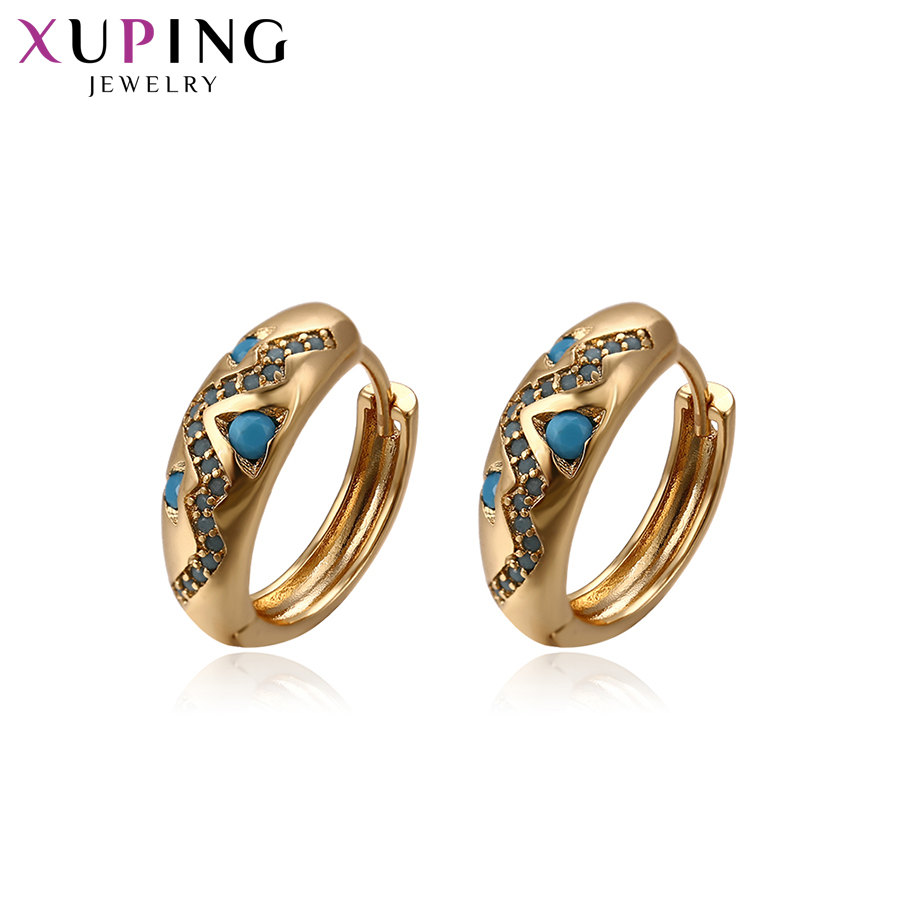 11.11 Deals Xuping Fashion Elegant Earrings Gold Color Plated for Women Thanksgiving Jewelry Gift S58.4-93380 starry pattern gold plated alloy rhinestone stud earrings for women pink pair