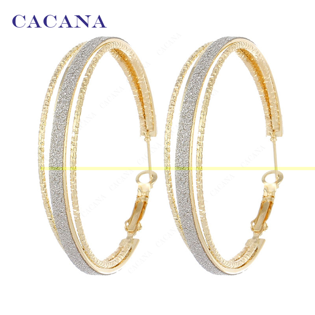 CACANA Hoop Long Earrings For Women Round Within 2ring Bijouterie Hot Sale No.A8
