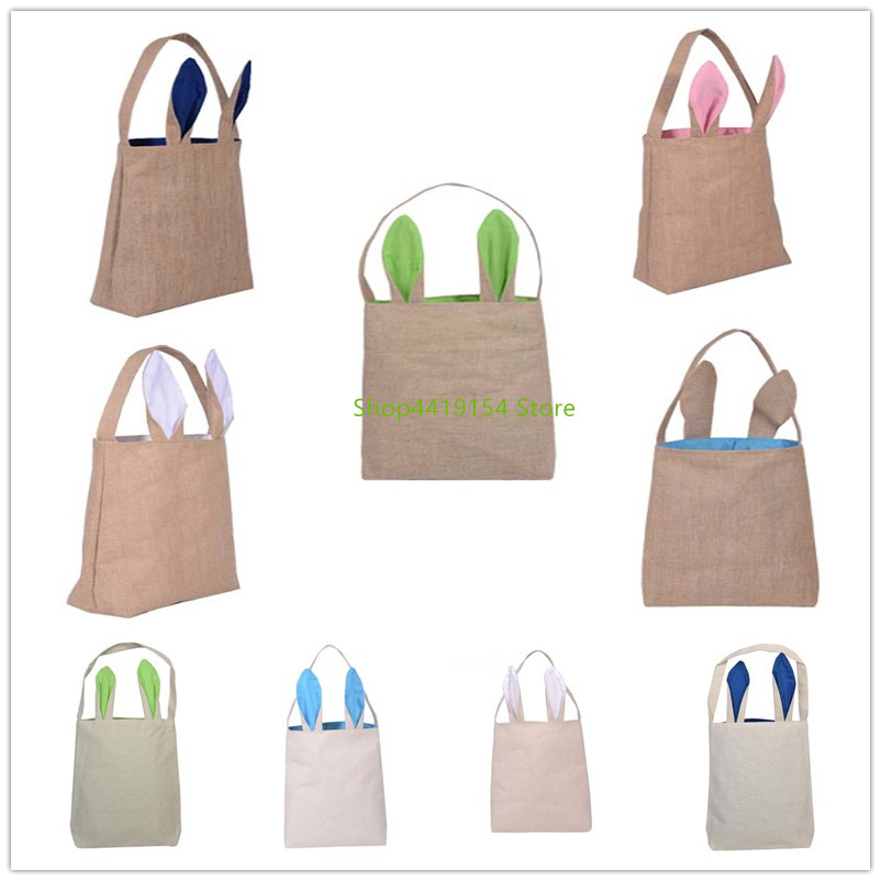 2019 New Cute Easter Bag Bunny Ears Cloth Tote Easter Basket for Eggs Candies Gifts Hunting