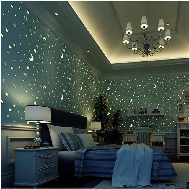 Beibehang umweltvlies fluoreszierende tapete blau leuchtende sterne kinder dach tapete jungen und m dchen schlafzimmer.jpg 640x640 - Fluoreszierende Tapete