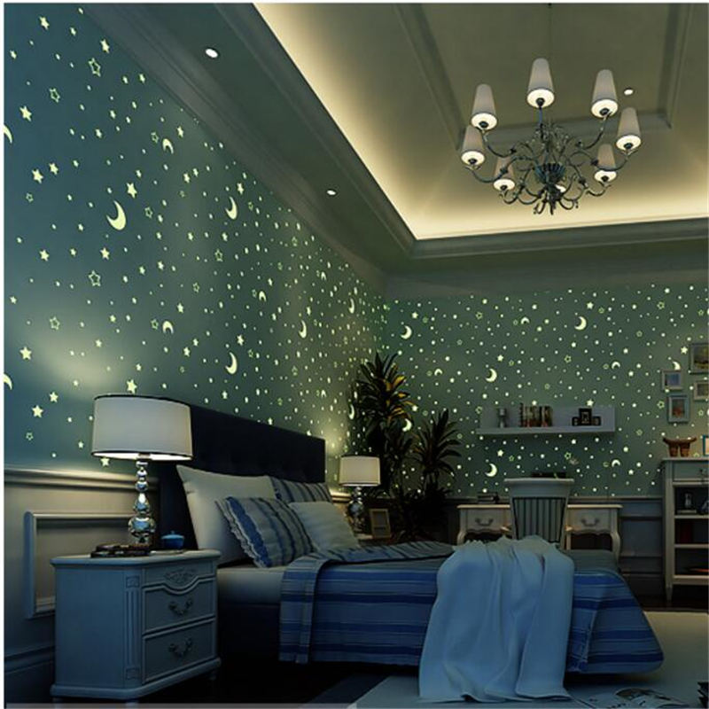 beibehang environmental non - woven fluorescent wallpaper blue luminous stars children 's roof wallpaper boys and girls bedroom non woven luminous wallpaper roll stars and the moon boys and girls children s room bedroom ceiling fluorescent home wallpaper