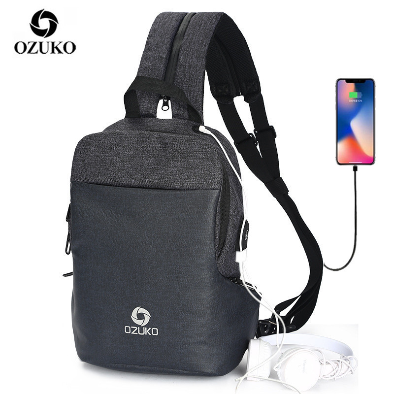 OZUKO Multifunction Shoulder Crossbody Bag Waterproof Messenger Bags Chest Pack Men Fashion Male Chest Bags USB Charging Travel