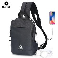 OZUKO wielofunkcyjna torba na ramię Crossbody wodoodporna torba na ramię torba piersiowa moda męska męska torba na klatkę piersiową z ładowaniem USB podróżny