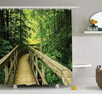 Nature Shower Curtain Tropical Forest Park Summer Autumn Environment Nature Holidays Adventure Scene Bathroom Accessories