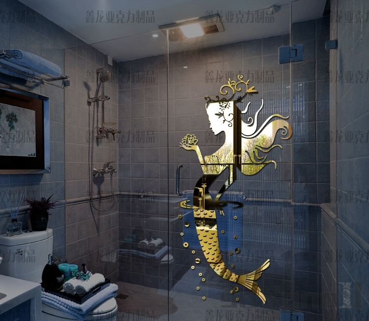 New style Mermaid princess bathroom glass tile mirror three dimensional wall stickers Sexy fashion decoration