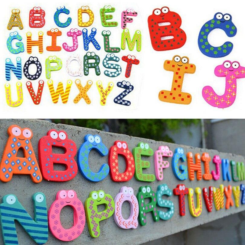 26 Pcs Letters Wooden Magnet Kids Wooden Alphabet Fridge