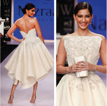 Bollywood Actress Sonam Kapoor Dressed Ashi studio Couture Backless Asymmetrical Offwhite Embroided Evening Dresses