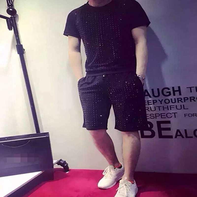 Лето 2019, новый европейский стиль, хит продаж, круглый воротник, короткий рукав, свободный, полный, просверленный, короткий костюм, мужской модный спортивный костюм