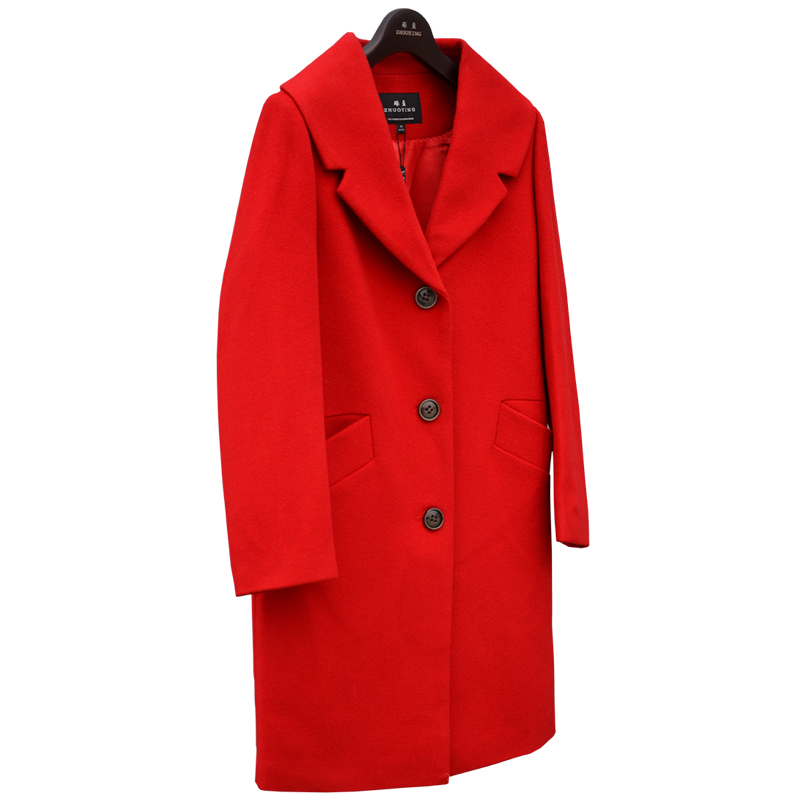 Winter cashmere wool coat female medium long thickening woolen outerwear font b suit b font free