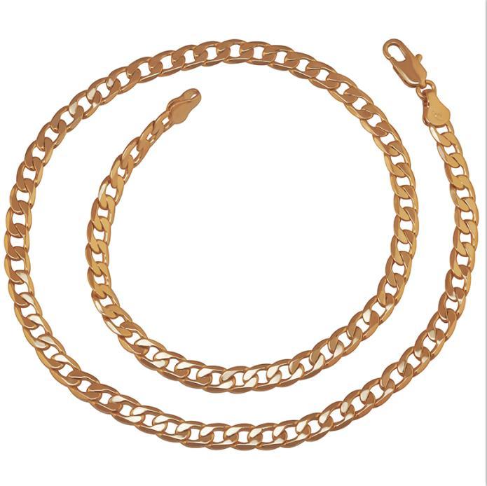 MxGxFam(специальная цена)(50 см* 6 мм) свинец и никель бесплатно 18 Желтое золото цвет цепи ожерелья для мужчин Европейская мода - Окраска металла: 18k gold plated
