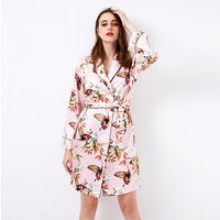 Pink Chinese Women Satin Robe Gown Female Sexy Mini Nightgown Novelty Kimono Geisha New Sleepwear Prined Nightdress M L XL