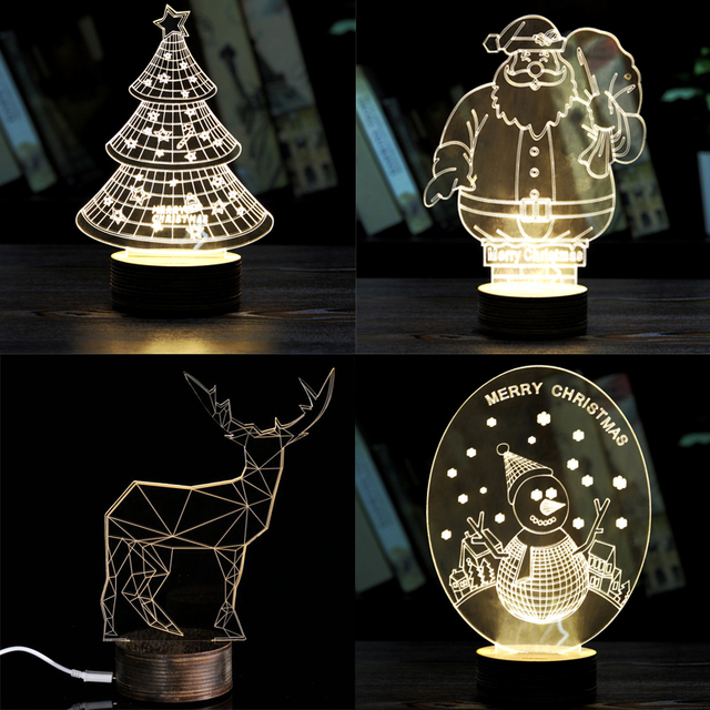 5 Styles Creative 3D Night Light Table Lamp Stylish Transparent Wireframe LED Christmas Tree Deer Desk Room Decor Birthday Gift