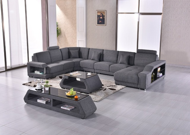 2017 Promotion New Fabric Modern Set Armchair Sectional Sofa Beanbag Big  Size U Shape Couch