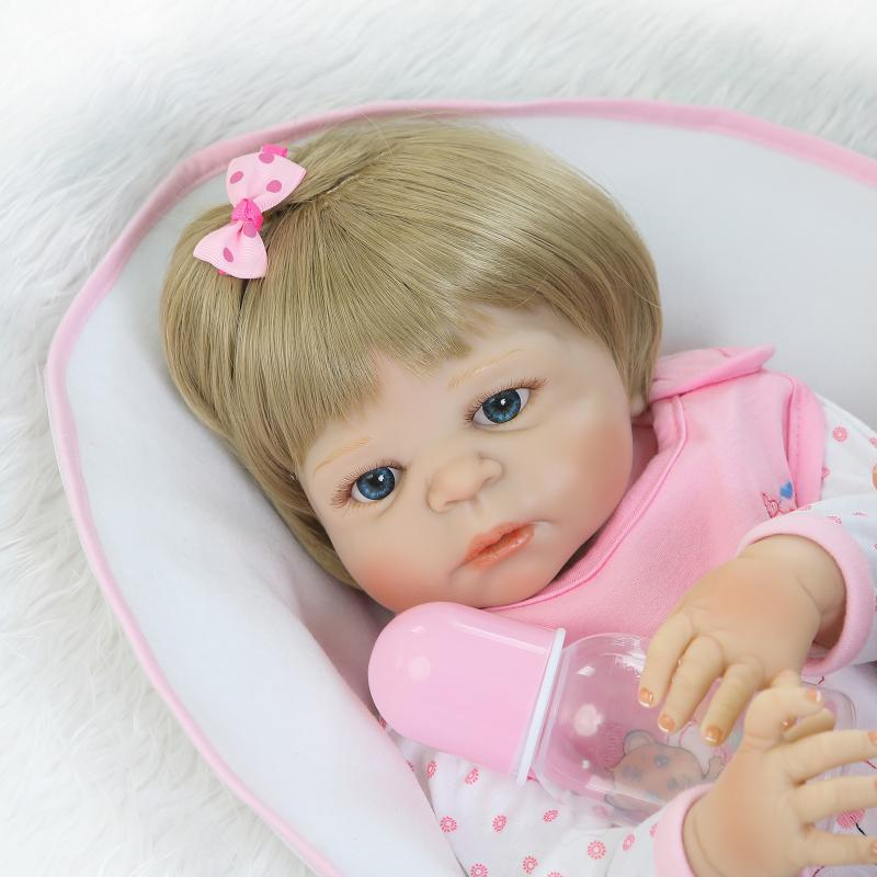Lovely Girl Princess Reborn Baby Dolls 23 Full Silicone Body Lifelike Baby Dolls with Hair So Truly Reborns kids Birthday