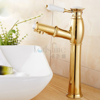 Free Shipping New Design Pull Out Faucet Gold Swivel High Bathroom Sink Mixer Tap Basin Faucet