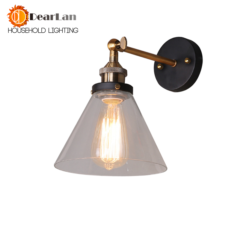Vintage Iron American Single Head Wall Lamp Loft Study Foyer Dining Room Wall Lights Bedside Glass Wall Lamps For Bedroom vintage wall lamp indoor lighting bedside lamps wall lights for home