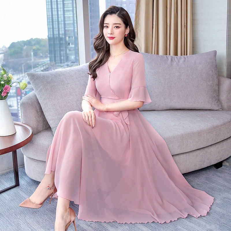 Летнее платье для женщин; большие размеры макси белый шифон элегантное платье повседневное Тонкий Вечерние Длинное черный роковой 3XL Q1291