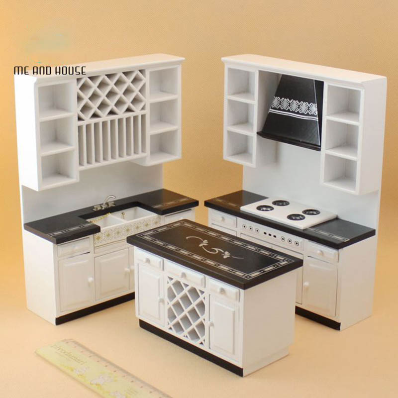 1:12 dollhouse furniture toy for dolls wooden white Miniature kitchen sets girls gifts children dolls house pretend play toys happy dollhouse family dolls small wooden toy set figures dressed characters children kids playing doll gift kids pretend toys