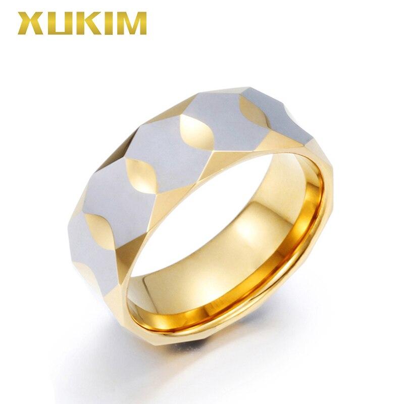 TSR203 Xukim bijoux or en acier inoxydable anneaux or complet doigt bague de mariage femmes anneaux tungstène hommes anneau