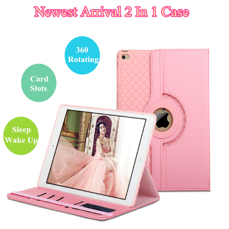 2 In 1 Removeable Case For iPad 2 3 4 360 Rotating PU Leather Smart Stand Case Cover For iPad 2 3 4 Tablet Case With Card Slots