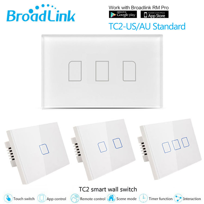 Broadlink TC2 Wireless Touch Switch 1/2/3Gang US AU RF433 Switch Smart Home Automation Wifi Remote Control Light Wall Switches broadlink us tc2 wifi touch switch 3gang 110 220v for rm2 rm pro universal remote controller wifi ir rf wireless control 433 315