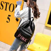 Mochila de cuero para mujer, Mochila con letras rosadas, Mochila femenina grande para niña, Mochila de viaje, mochilas escolares negras