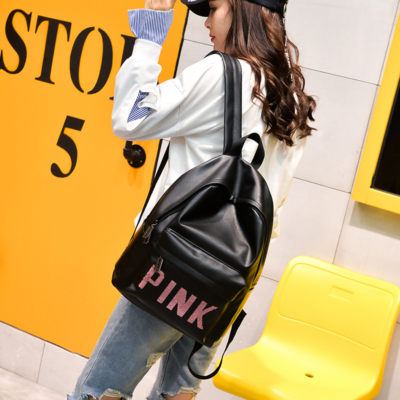 Women Leather Backpack Pink Letter Bolsas Mochila Feminina Large Girl Schoolbag Travel Bag School Backpacks Black Bagpack